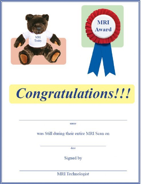 children s award certificate and mri experience guide